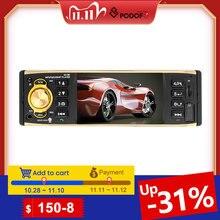 Podofo REPRODUCTOR de Audio MP3 para coche, pantalla TFT de 4 pulgadas, 1 Din, estéreo, Bluetooth, con cámara trasera, mando a distancia, USB, FM