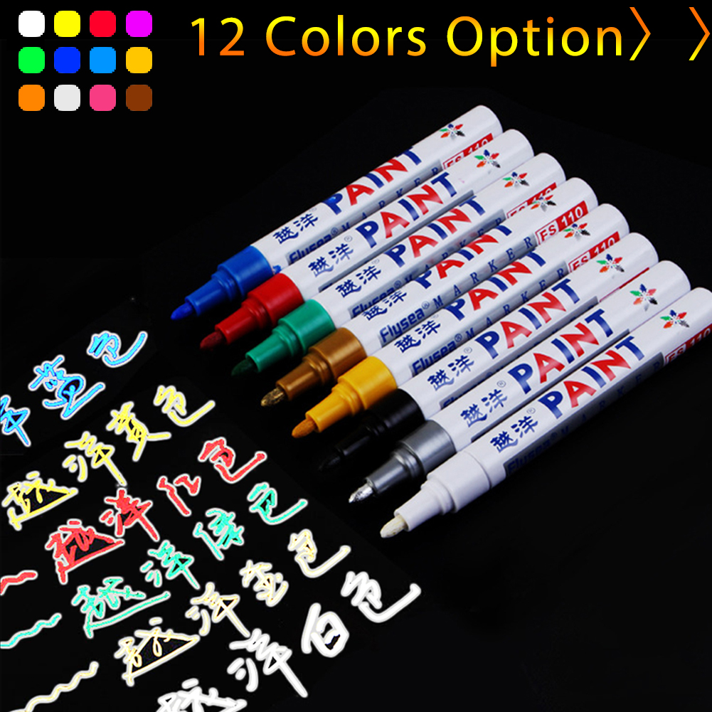 12 Colors Waterproof Car Tyre Tire Tread CD Metal Permanent Paint Marker Graffti Oily Marker Macador Caneta Office Stationery