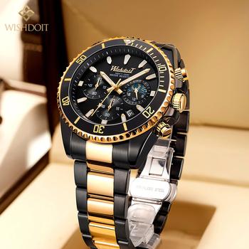 WISHDOIT nowy męski zegarek sportowy Top marka luksusowy zegarek ze stali nierdzewnej złoty wodoodporny zegarek kwarcowy męski na co dzień tanie i dobre opinie 24cm Moda casual QUARTZ NONE 3Bar Klamerka z zapięciem CN (pochodzenie) STAINLESS STEEL 14mm Hardlex Kwarcowe zegarki