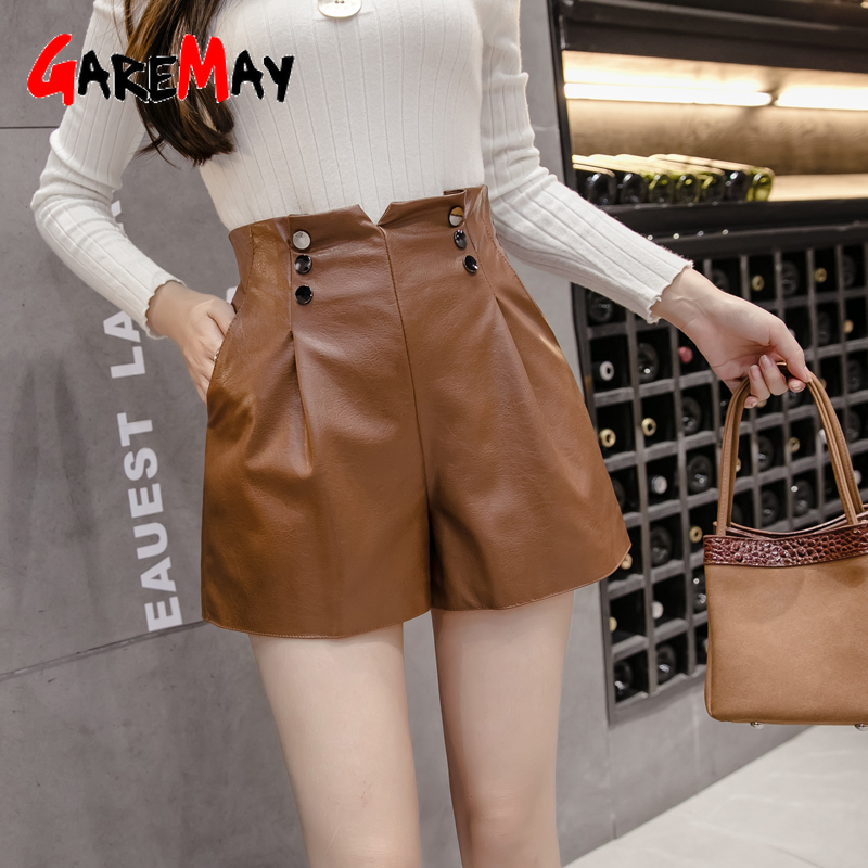 GareMay 2019 Autumn Winter Women's Leather Shorts Women High Waist Korean Style Plus Size PU Panties Female Shorts For Girls