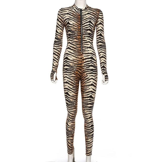Turtle Neck Women Jumpsuit 2019 Autumn Ladies Sexy Tiger Skin Print Zipper Long Sleeve Jumpsuits Sportswear Overall Women Romper 5