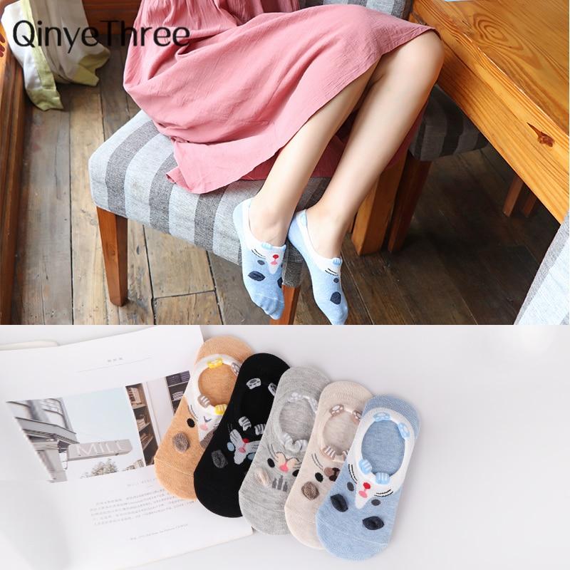 Women's Short   Socks   color Female Low Cut Ankle   Sock   Summer Spring Girl Cotton 3D dog   Sock   animal cartoon puppy   socks