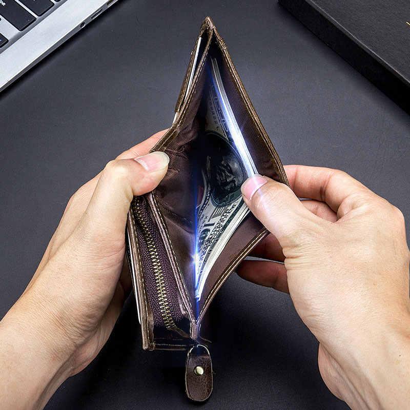 Bullcaptain Baru Pria Kulit Dompet Kulit Koin Dompet RFID Non-Scanning Kulit Kartu Pemegang Dompet Pria Fashion dompet