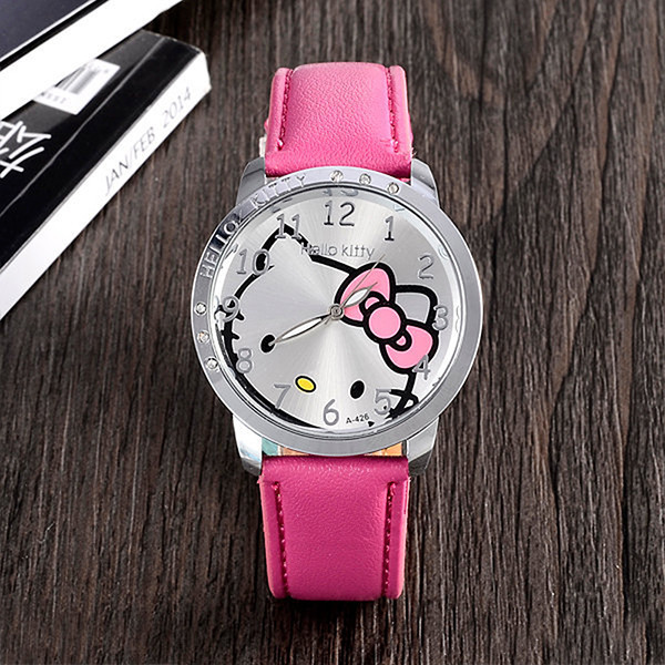 Fashion Brand Quartz Watch Children Girl Women Leather Crystal Wrist Watch Kids Wristwatch Clock Relogio