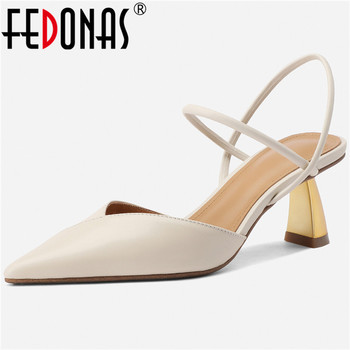 FEDONAS Elegant Fashion Genuine Leather Women Sandals 2020 Summer Newest Thick Heels Pumps Party Office Lady Prom Shoes Woman