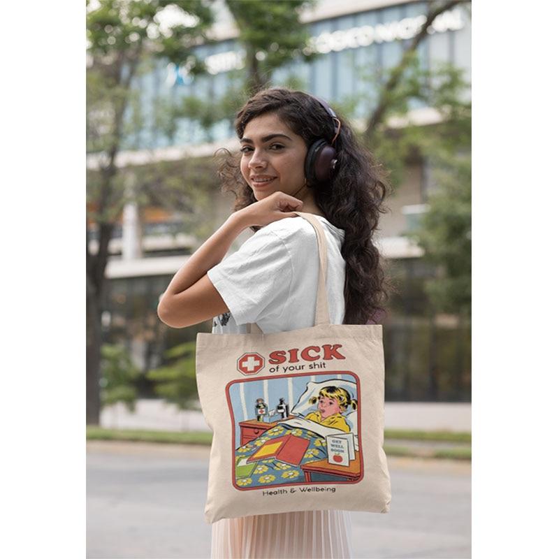 56 Styles Personalized Canvas Vintage Shoulder Bag Women Students Summer Fashion Ulzzang Tote Bags Harajuku Cartoon Casual Bags