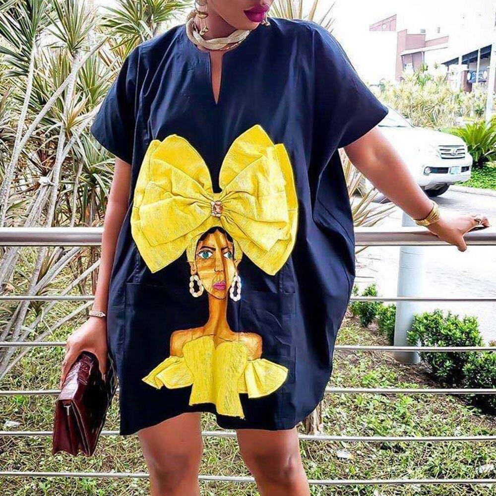 Casual Oversize Character Print Women Dress Fashion Streetwear Loose Office Lady Mini Work Wear Vestidos Plus Size Summer Dress