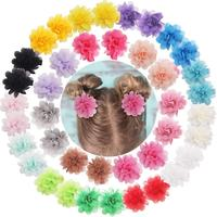 "40PCS 2"" Chiffon Flower Hair Bows Fully Lined Flower Tiny Hair Clips Fine Hair Girls for Infants Toddlers Set of 20 Pairs"