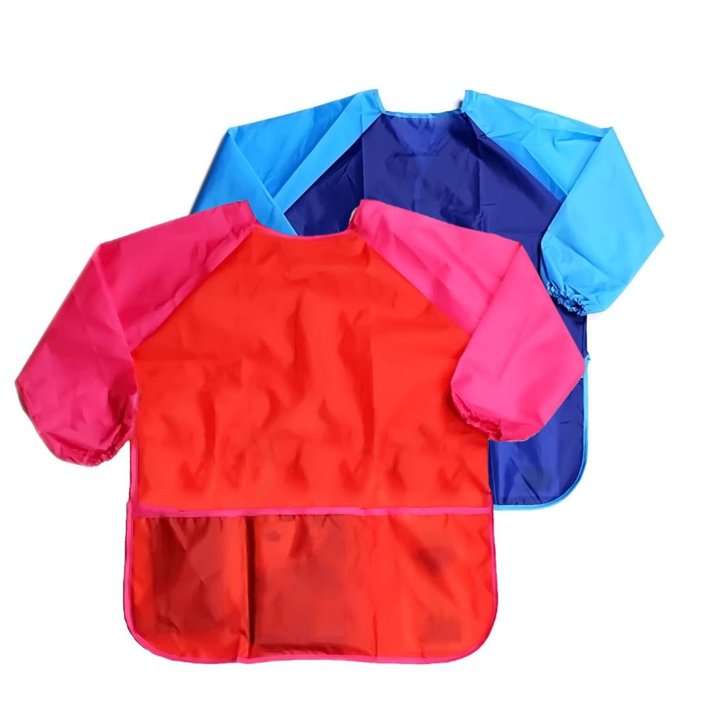 Fashion 53CM Children Babies Kids Long Sleeve Waterproof Eating Apron Art Craft Painting Drawing Baking Play Apron Smock Toddler