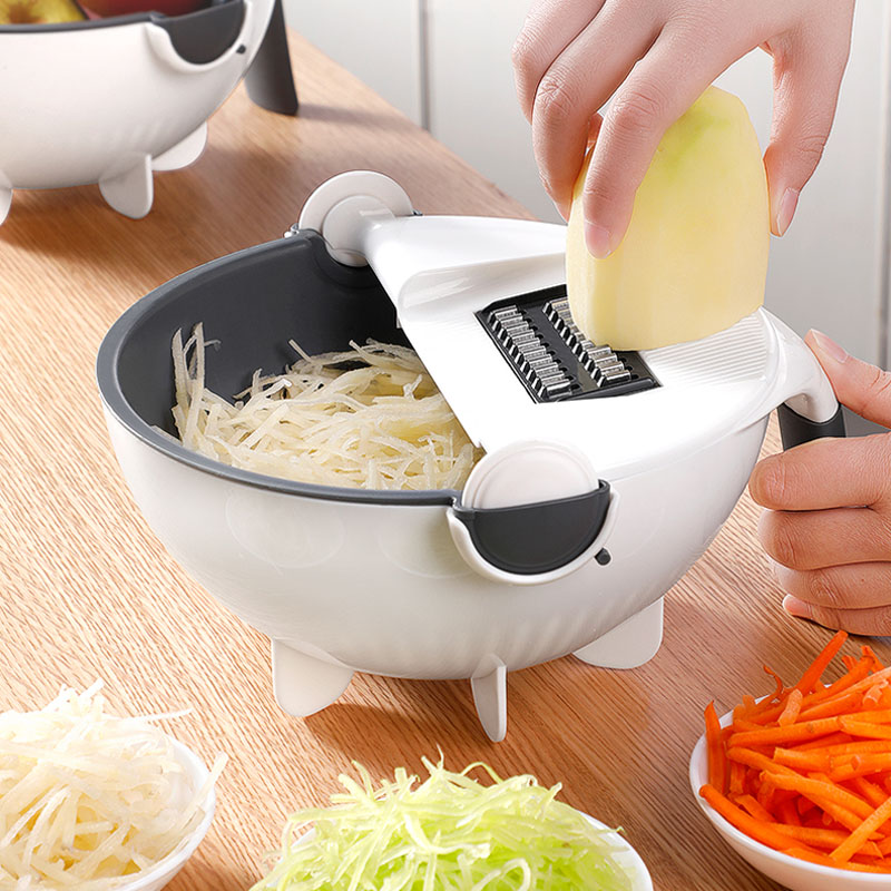<font><b>Multifunctional</b></font> Vegetable Slicer Cutter Shredder Manual Mandoline <font><b>Chopper</b></font> Potato Carrot Cheese Grater 2 in 1 Draining Basket image