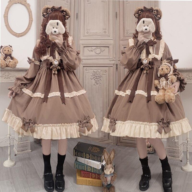 Elegant French Sweet Lolita Cute Caramel Teddy Bear Party OP Dress Lovely Retro Bow Flouncing Princess Dress Autumn Winter