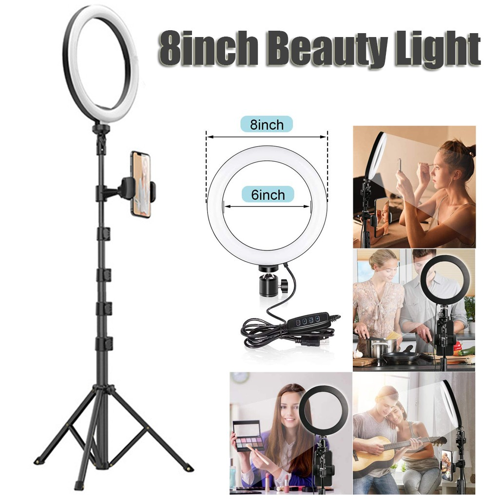 8    Selfie Ring Light With Tripod Stand   Wireless Remote LED Dimmable Lightning