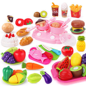 Kitchen-Toys Simulation Miniature Pretend-Play-Set Vegetables Fruits Food-Cut Cooking