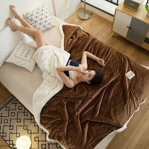 Image 5 - Couverture Raschel Super douce, polaire épaisse, en peluche, corail Double face, chaud pour lit, rose, café, gris