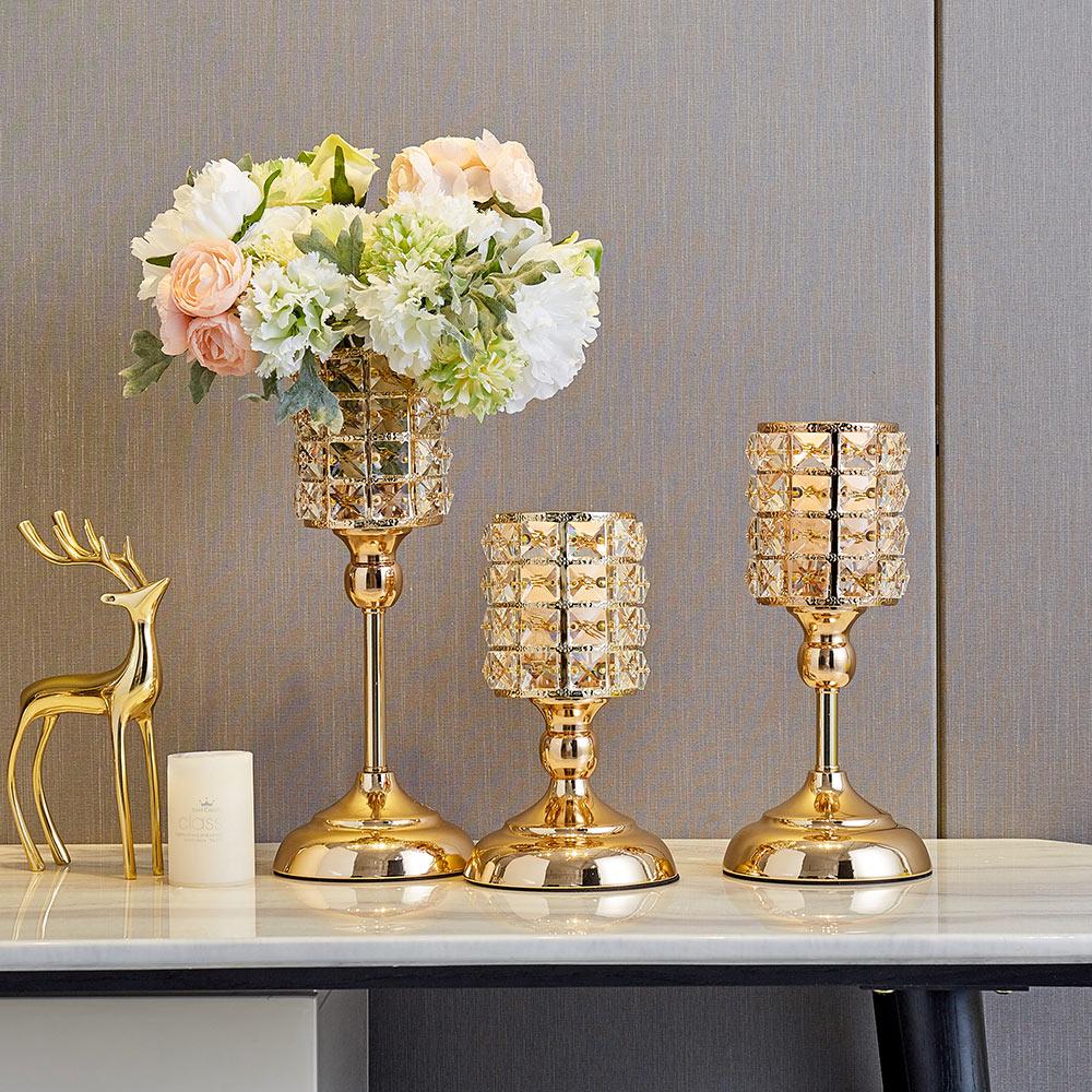 Gold Metal Pillar Candle  2