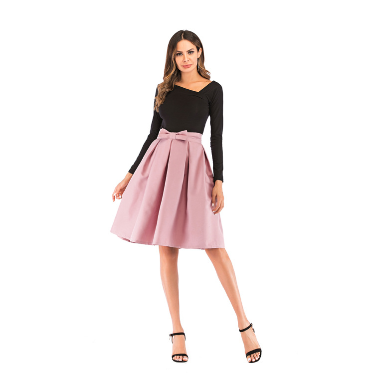 Neophi 19 Causual Bow Pleated Women Skater Skirts Knee Length Summer High Waist Ladies Solid Black Ball Gown Saia S-XXL S8423 6