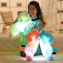 цена на Colorful Luminous Dog LED Light Plush Pillow Cushion Kids Toys Stuffed Animal Doll Birthday Gift  50CM