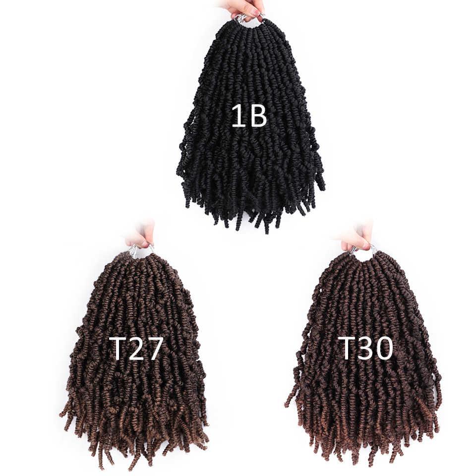 12 Polegada bomba primavera twists pré torção ombre crochê tranças macio torção pré-looped trança extensões de cabelo sintético
