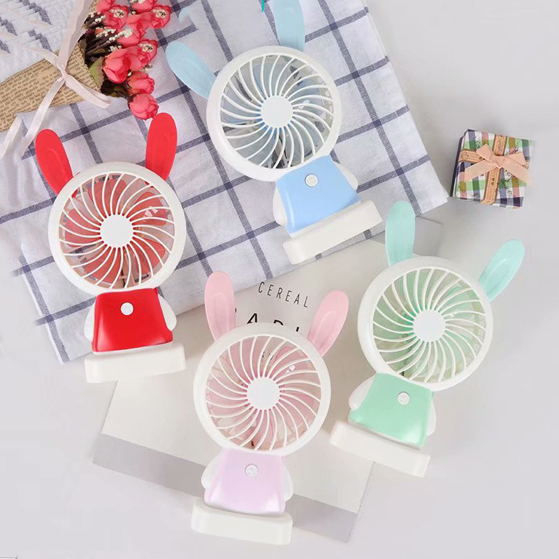New Style Children Portable USB Charging Fan Toy Summer Desktop Mute Mini Rabbit Fan Belt Night Light