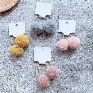 2Pcs/Set Pompom Baby Girl Hair Accessories Hairball Elastic Hair Bands For Baby Girls Kids Children Rubber Band Gift