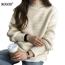 RUGOD Turtleneck Sweater Solid Women Pullover Knitted Thick Sweater 2019 Casual Modis Truien Dames женская водолазка цена и фото
