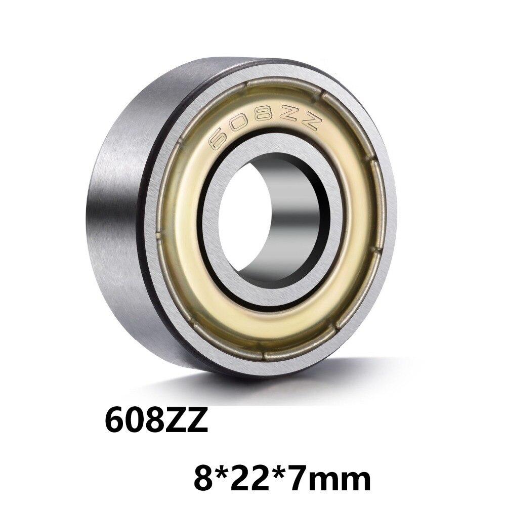 20-10-5pcs 608ZZ Bearing Steel Double Shielded Deep Groove Miniature Ball Bearings 608-ZZ 8x22x7mm Z
