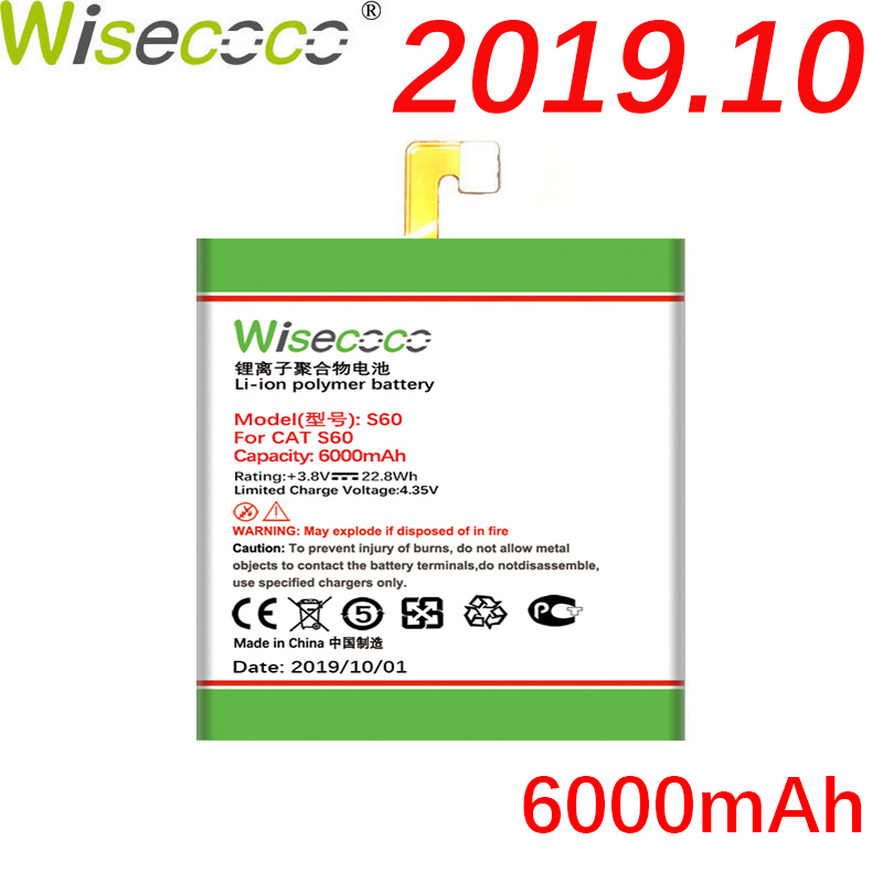 WISECOCO 6000mAh <font><b>S60</b></font> <font><b>Battery</b></font> For <font><b>CAT</b></font> <font><b>S60</b></font> Mobile Phone In Stock Latest Production With High Quality <font><b>Battery</b></font>+Tracking Number image