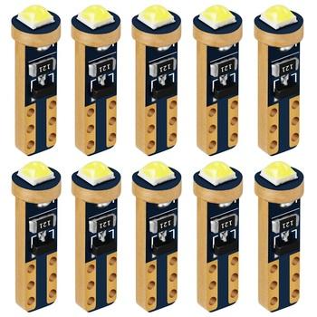 10 sztuk T5 74 W1 2W W3W Super jasne chip cree LED klin deski rozdzielczej wskaźnik lampy samochodowe wskaźnik ostrzegawczy zestaw wskaźników żarówka tanie i dobre opinie Qujuzawa CN (pochodzenie) Światła instrumentów 12 v Złota 3030 Uniwersalny FESTOON