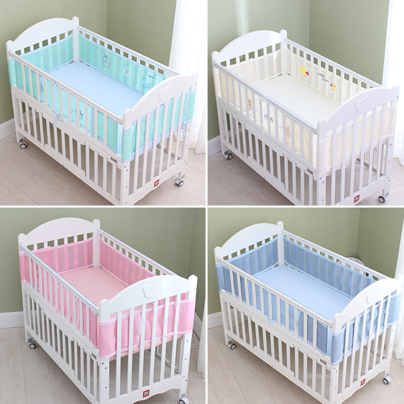 Newbrons Baby Bed Bumper Sides In The Crib Summer Breathable Mesh Baby Cot Bumper For Head Protector Baby Bedding Set Room Decor
