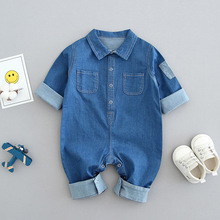 0-2-year-old Baby Clothes, Spring, Summer and Autumn, Long-sleeved Baby Boys' Jumpsuits, Cowboy Climbing Clothes.