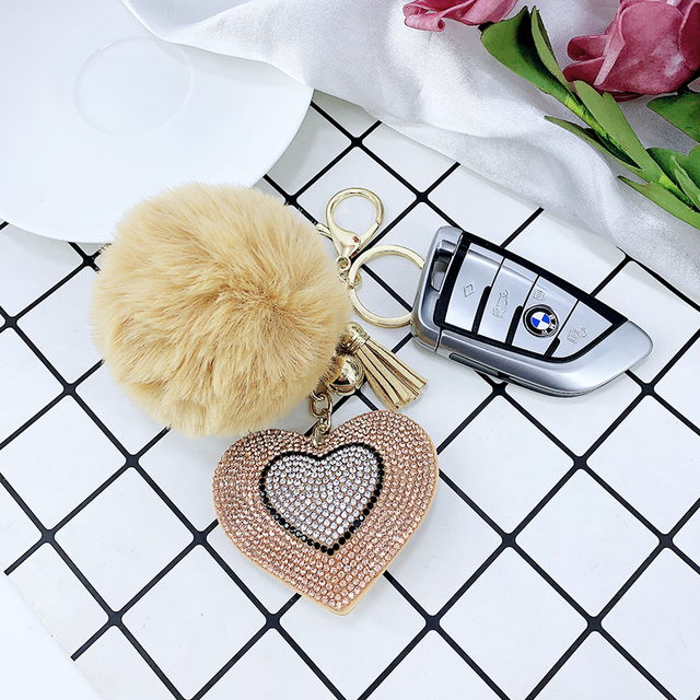 Pompom Keychain Rhinestone Heart Women's Bags Key Ring Handmade Accrssories Keychains Pendants Charming Suspension Decoration 3