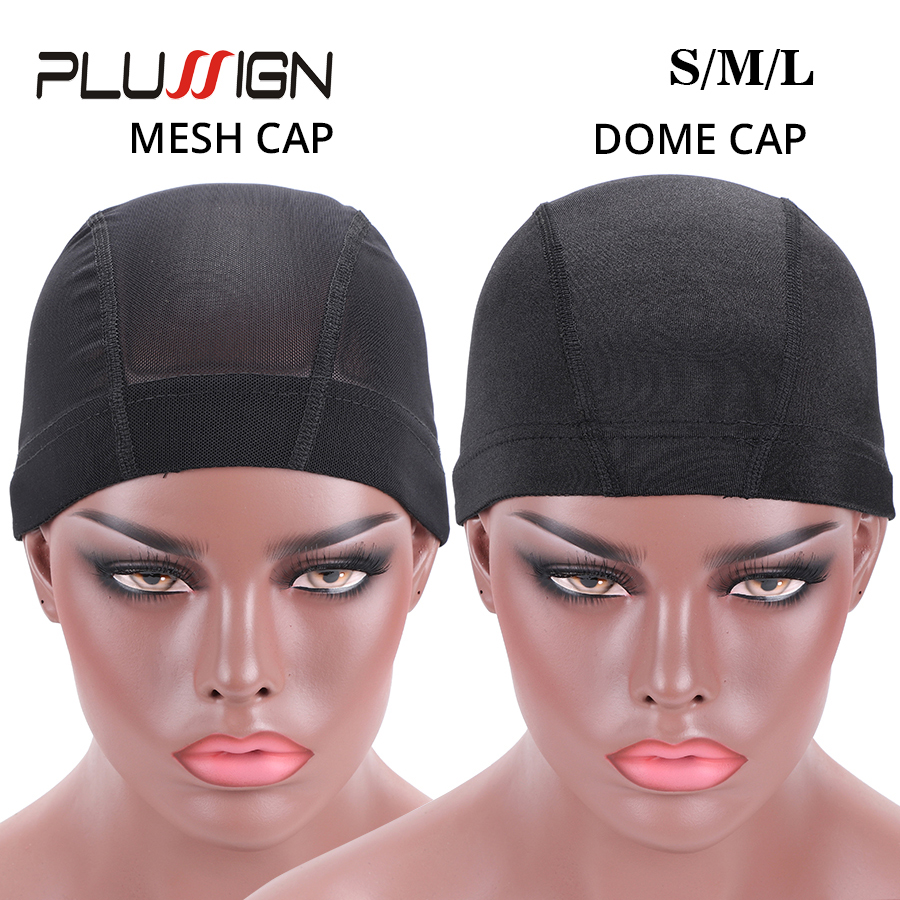 Plussign 1PC Wholesale Spandex Dome Cap For Wig Making Quality Strech Glueless Hair Weave Net Elastic Mesh Dome Cap Pack Black