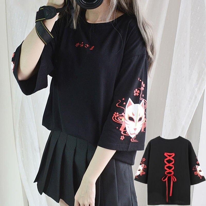 2020 модная летняя футболка женская одежда Аниме лиса принт крест лента Футболка женская черная Harajuku топы