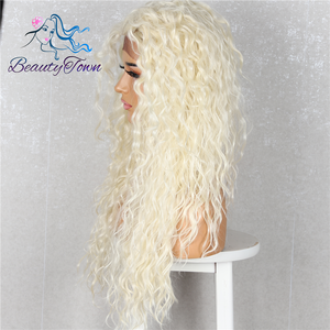 Image 3 - BeautyTown Kinky Curly Futura Heat Resistant Blonde 613 hair Women Daily Makeup Cosplay Wedding Party Synthetic Lace Front Wig