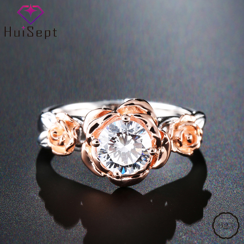 HuiSept 925 Silver Jewelry Ring Rose Flower Shape Zircon Gemstone Fashion Ornament For Women Wedding Party Gift Wholesale Rings