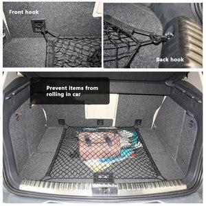 Image 2 - Universal Cargo Net für Auto Stamm 70x70cm Stamm Gepäck Lagerung Transport Organizer Nylon Dehnbare Elastische Mesh Net mit 4 Haken