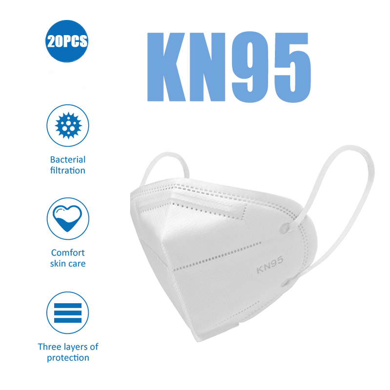 20PCS KN95 Masks Non-woven Anti Dust Mouth Face Cover Safety Protective Face Mouth Mask N95 Mask Dustproof Anti-Polution Mask