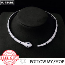 S925 Sterling Silver Original 1:1 Copy Round Circle Serpent Open Necklace Snake Chocker Luxury Brand Monaco Jewelry For Women