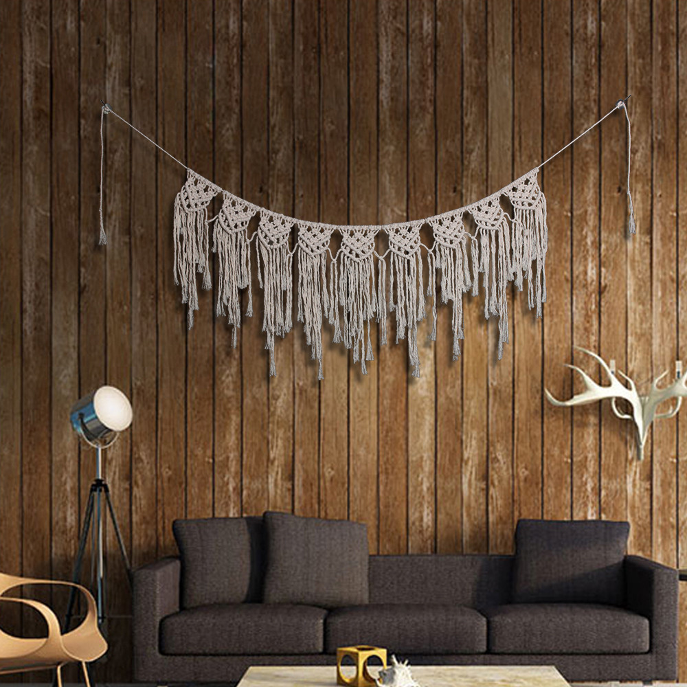 NEW Bohemian Macrame Handmade Knitting Cotton Tapestry Wall Hanging Tapisserie Banner Tassel DIY Craft Wedding Home Decoration