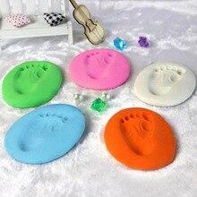 Arcilla suave para modelar bebé DIY impresión de la huella de la mano Kit de secado al aire de cuidado del bebé con almohadilla de tinta de mano