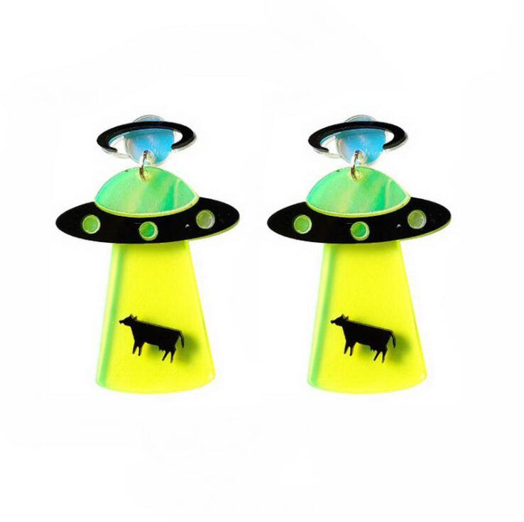 Earrings For Women Kelly Earrings Fashion Charm Exaggerated Hip Hop Girls Gift Cute Alien UFO Saucerman 1