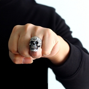 Antique Silver Color Evil Skeleton Skull Ring For Men Chunky Stainless Steel Punk Rock Skeleton Ring Jewelry For Male Wholesale