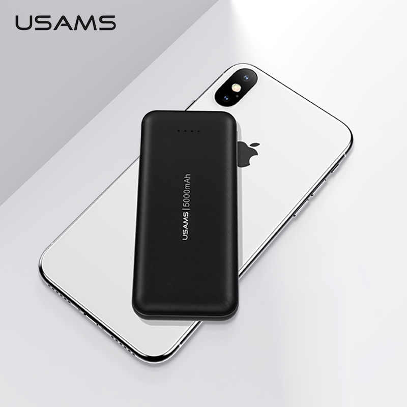 USAMS Mini Power Bank 5000mAh cargador portátil de carga rápida Powerbank doble entrada externa batería Poverbank para iPhone Xiaomi