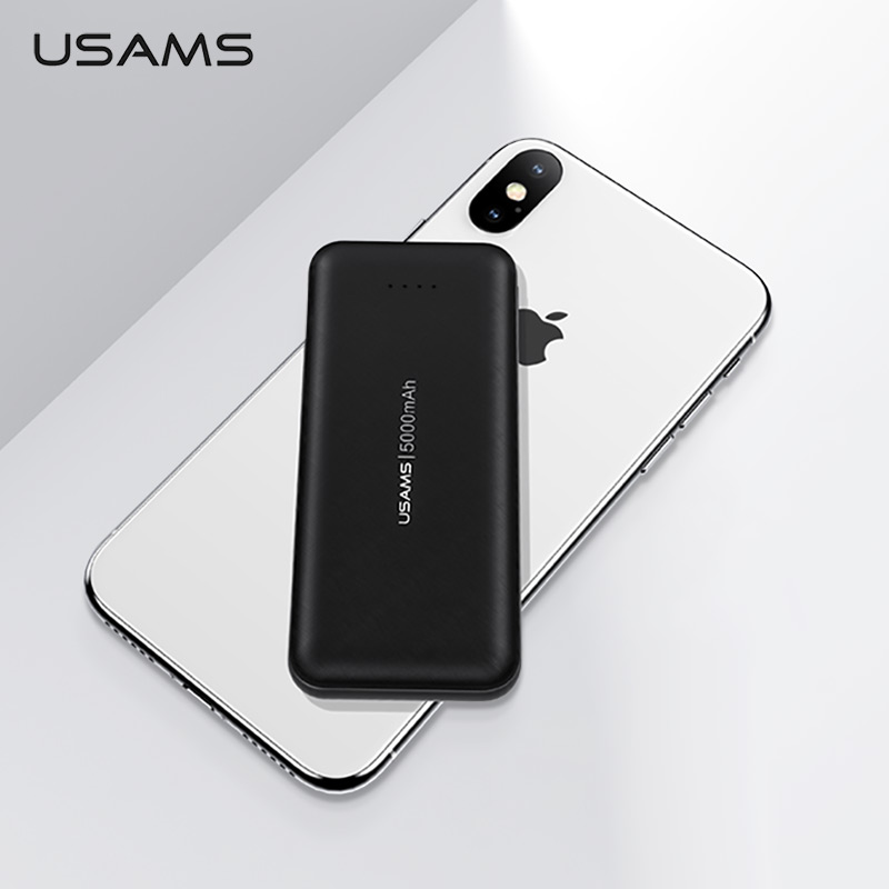 USAMS Mini <font><b>Power</b></font> <font><b>Bank</b></font> <font><b>5000mAh</b></font> Fast Charging Portable Charger Powerbank Dual input External Battery Poverbank for iPhone Xiaomi image