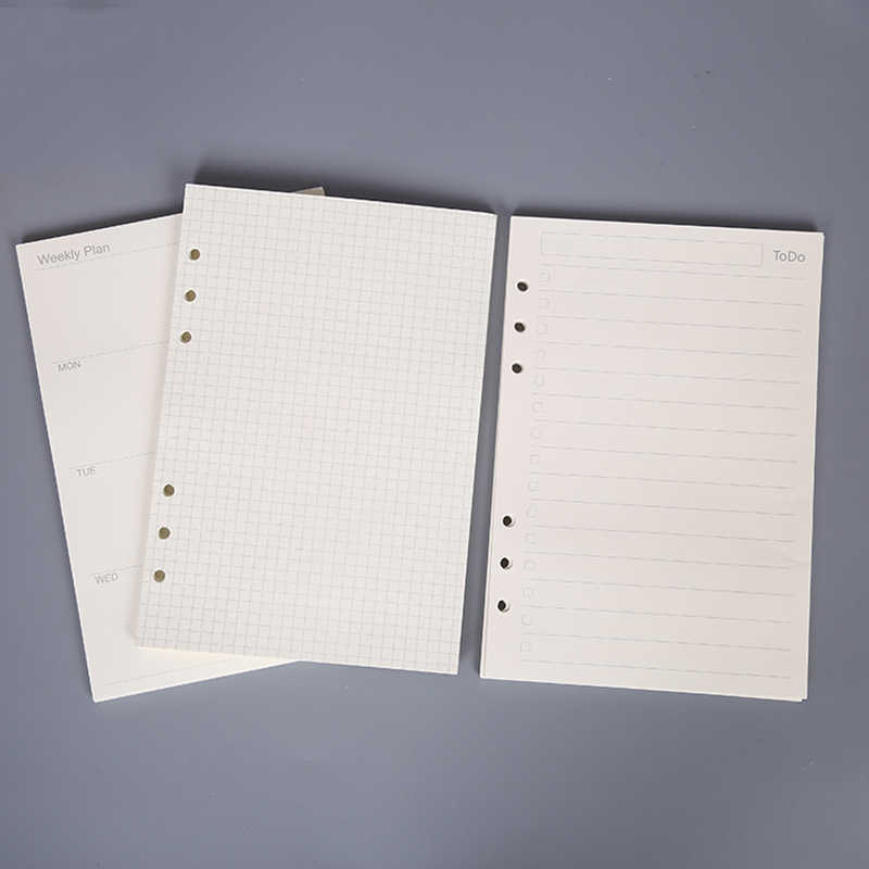 45 sheets high quality binder notebook A5/A6 insert refill 6 hole loose leaf spiral notebook paper diary plan inner core paper