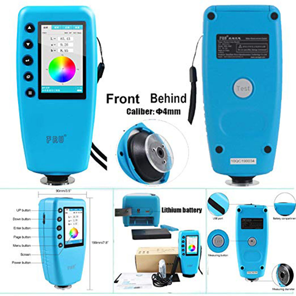 WR10QC Colorimeter Color Difference Meter Tester Digital Color Analyzer Meter TFT Color Display 4mm Caliber