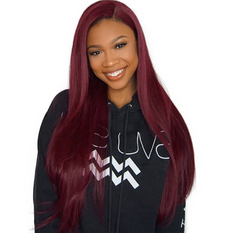 Eseewigs Silky Straight Lace Front Human Hair Wigs Colored 99j Wig Pre Plcuked Natural Baby Hair 150% Density