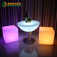 LED square out door furniture Creative modern bar stools colorful by remote control waterproof charging LED furinture stool