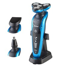 KEMEI KM-58892 3-in-1 Rechargeable Electric Razor Washable 3D Floating Triple Blades Electric