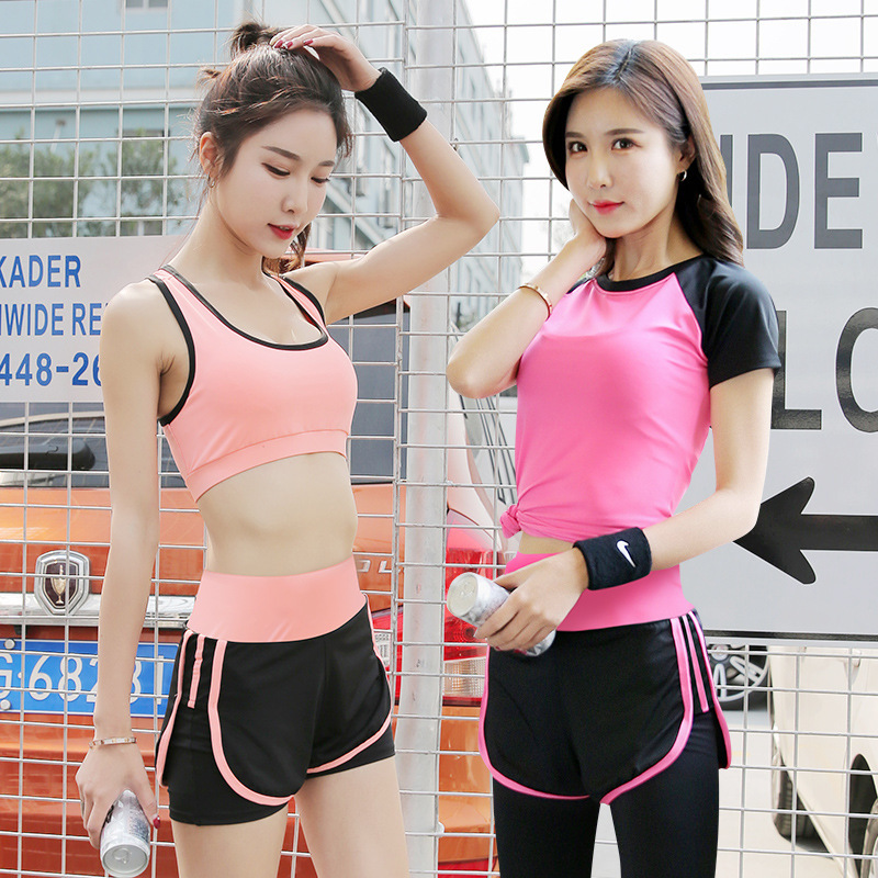 High-waisted Yoga Summer Workout Clothes Sports Set Tight-Fit Short Sleeve T-shirt Women's Casual Tops Mock Two-Piece Shorts